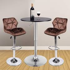 3 Pieces Bar Table Set 24 Inch Round Height Adjustable Steel Dining Bistro  Kitchen Table With 2 Pieces Velvet Bar Stools (Brown Barstool + Black Pub  ...