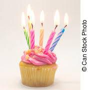 Pink Birthday cupcake with candle lighting