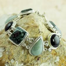 100 Natural Geometry Green And Black Jade On Sterling Silver Bracelet