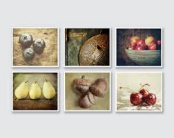 Country Kitchen Decor Set Of 6 Food Prints Or Canvas Rustic