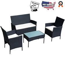 Outsunny Patio Furniture Cushions by Outsunny 4 Piece Cushioned Outdoor Rattan Wicker Sofa Sectional