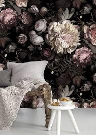 bildergebnis für schlafzimmer blumentapete dunkel farben