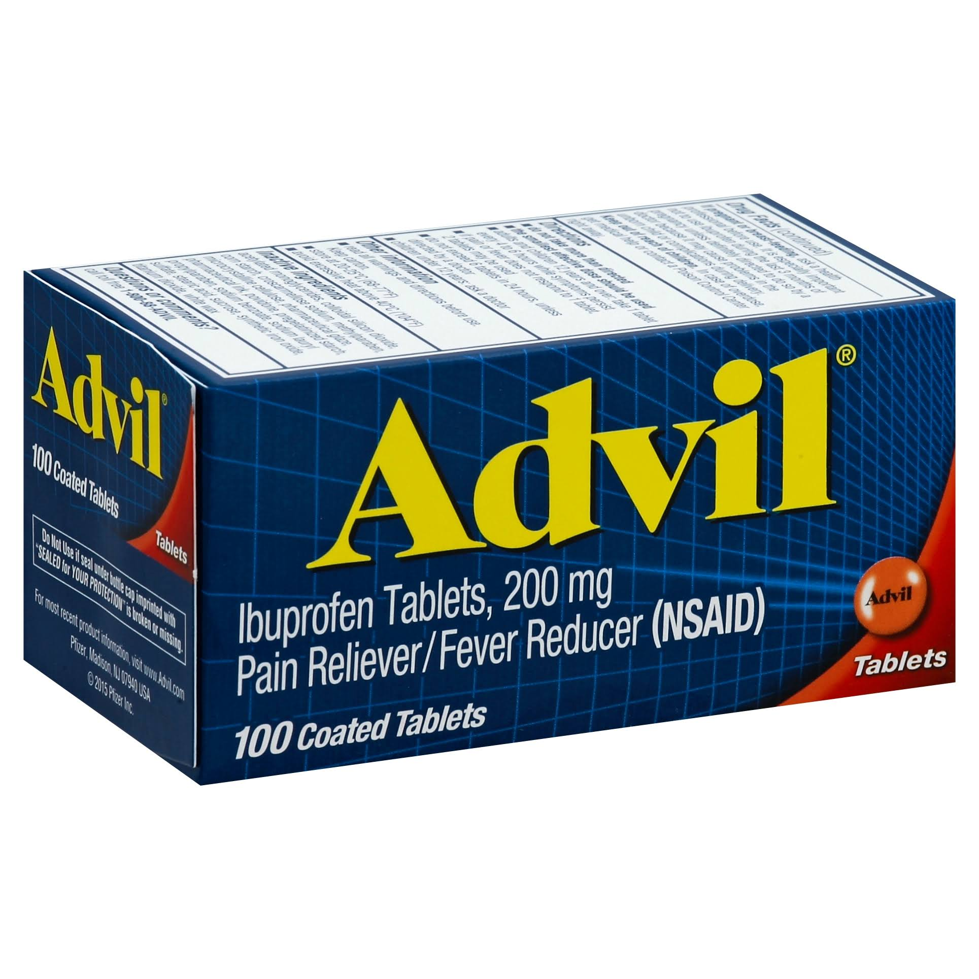 Advil Ibuprofen Pain Reliever and Fever Reducer - 200mg, 100 Coated Tablets