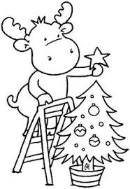 Christmas Moose Coloring Page
