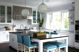 Kitchen Island Table Long As Dining With Blue Leather Stools