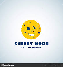 Cheese Moon Photography Abstract Vector Sign Emblem Or Logo Template Round Laughing Lunar Face Silhouette Isolated By Createvil