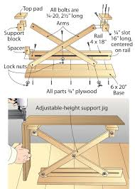 adjustable wooden third hand scissor lift support provides a