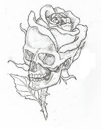 Skull And Rose Drawing Picture Flowers For Easy Drawings Of Roses Skulls
