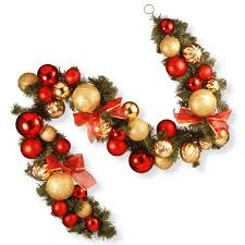 Decorate Christmas Tree Garland Beads by Christmas Garland Christmas Wreaths U0026 Garland The Home Depot