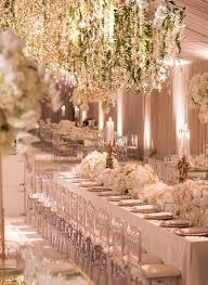 Reception Décor s Floral Chandeliers in Blush Tent Inside