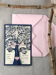 Elegant Custom Rustic Wedding Invitations And Listing Invitation Laser Cut Tree Pink