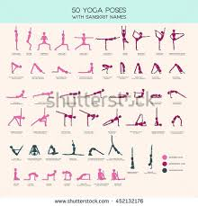 Vector Set Of Stick Figures Doing Yoga Asanas People Infographics 50 Basic Poses
