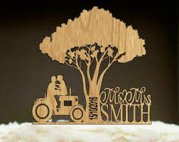 Tractor Wedding Cake Topper Bride And Groom Rustic