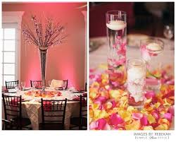 Pink yellow coral wedding decor