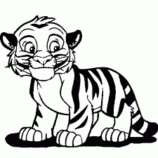 Print Cute Tiger Cub In Cartoon Coloring Page Full Size