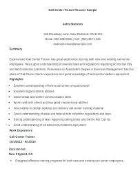 Resume For Call Center Sample Job