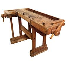 Antique Vintage Carpenters Bench Table For Sale