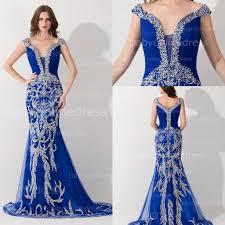 2017 royal blue pageant dresses gorgeous off shoulder crystal