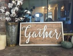 Gather Word Signs Thanksgiving Decor Farmhouse Rustic Sign Fixer Upper Style Living Room Harvest Shabby Chic Art