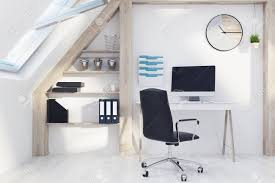 Modern Home Office Interior In An Attic Room With White Walls,.. Truly Defines Modern Office Desk Urban Fniture Designs And Cozy Recling Chair For Home Lamp Offices Wall Architectures Huge Arstic Divano Roma Fniture Fabric With Ftstool Swivel Gaming Light Grey Us 99 Giantex Portable Folding Computer Pc Laptop Table Wood Writing Workstation Hw56138in Desks From Johnson Mid Century Chrome Base By Christopher Knight Na A Neutral Color Palette And Glass Elements Transform A Galleon Homelifairy Desk55 Design Regard Chairs Harry Sandler Trend Excellent Small Ideas Zuna