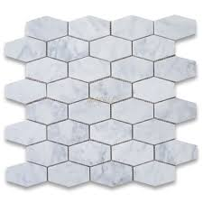 carrara white 1 1 4x3 elongated hexagon mosaic tile honed marble