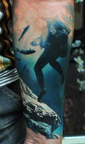 Awesome Underwater Dolphin Tattoos On Full Back
