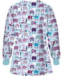 Ceil Blue Print Scrub Jackets by Ua Lucky Elephants Amazing Aqua Scrub Jacket Pediatric Print Scrubs