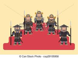 Ancient Japanese Soldier Flat Graphic