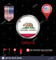 Round Chrome Vector Badge With California US State Flag Pennant Of USA Map Pointer