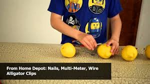 how to light a bulb with citrus fruit science fair experiment