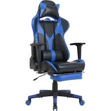 Lorell Foldable Footrest High-back Gaming Chair - Blue, Black Seat - Blue,  Black Back - 5-star Base - 44.6
