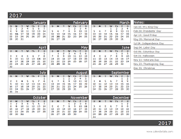 2017 12 Month Calendar Template One Page