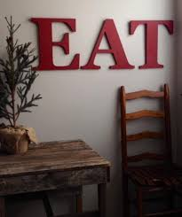 EAT Wooden Letters Yellow Red Kitchen Farmhouse Style Capital Alphabet Letter Hanging Wall Decor Wood Art Dining
