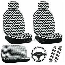 Cute Owl Car Floor Mats by Chevron White Black Seat Cover 11 Pc Set Chevron Car Accessories