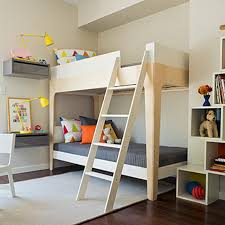 corner bunk beds with stairs and modern wall lamps in kids bedroom