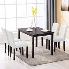 Mecor 5 Piece Dining Table Set Wood 4 Leather Chairs Kitchen Room Breakfast Furniture