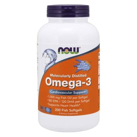 Now Omega 3 Dietary Supplement - 200 Fish Softgels