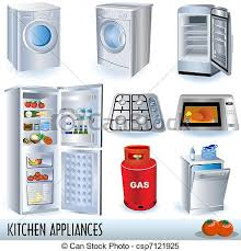 Set Of Nine Kitchen Appliances And Two Tomatoes Clipart Vector