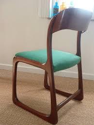 chaise traineau baumann chaise traineau baumann tissu vert vintage zf59rnj