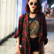 Flannel Shirts For Girls Outfits Tumblr Girl Plaid Source Abuse Report