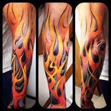 Fire And Flame Tattoo On Sleeve