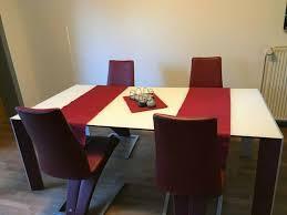 rolf 7800 esszimmer 4 stühle 7800 tisch in glas leder kombi