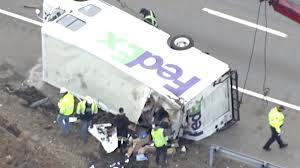 100 Fedex Truck Accident Packages Spill After FedEx Truck Overturns On MA Highway