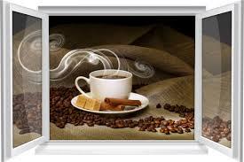 wandtattoo wandbild fenster kaffee tasse jute bohnen wohnzimmer küche esszimmer deko