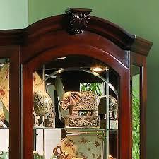 Pulaski Furniture Curio Cabinet by Clockway Pulaski Naples Corner Curio Cabinet In Medallion Cherry