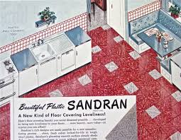 1950s KITCHEN FLOOR DECOR Ad Vintage Magazine Vinyl Tile Print Advertisement Sandran Linoleum Plastic Atomic Age