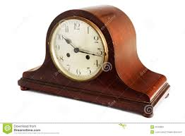 old antique wooden clock on white royalty free stock photography