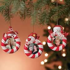 Fun Express Peppermint Candy Red White Striped Snowman Christmas Tree Photo Picture Frame Ornaments