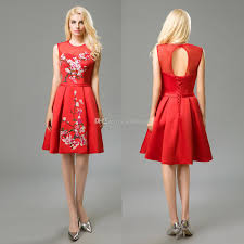 prom dresses 2017 embroidery red chinese style cocktail dresses