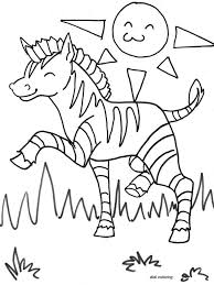 Printable Exited Zebra Horse Grazing In Sunny Weather Coloring Page For Kids Pages Educations